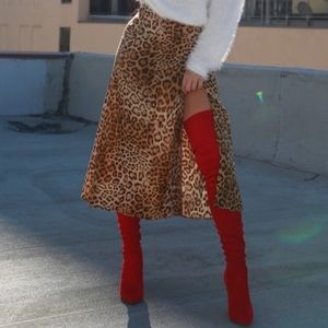 Red thigh boots suede shoes 8 over knee